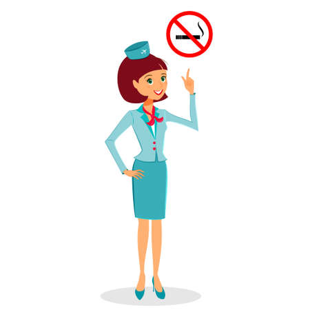 flight attendant: Cartoon flight attendant in uniform pointing on No Smoking sign, vector illustration professional occupation character.