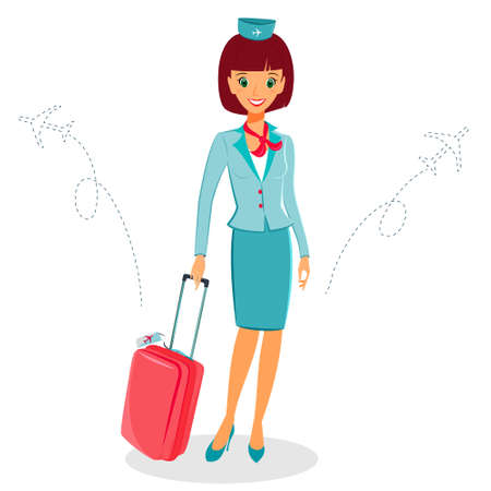 cabin attendant: Cheerful cartoon flight attendant in blue and red uniform with suitcase, vector illustration professional occupation character.