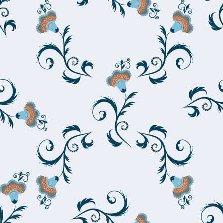 hues: Seamless indian simple vector pattern with flowers in blue hues
