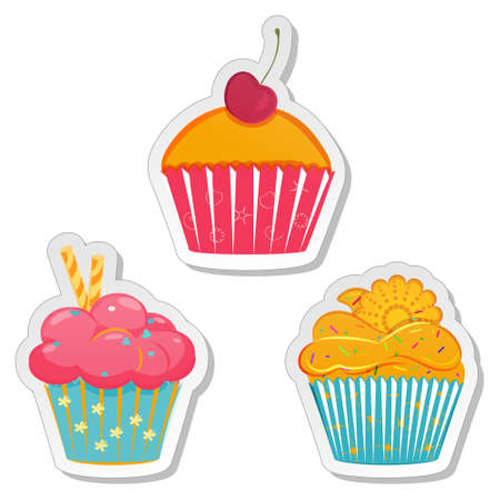 cupcakes isolated: Food sticker set. Collection of labels of cupcakes, muffins with different toppings in elegant pastel hues. Bakery design template. Vector illustration isolated on white background