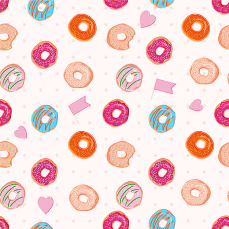 bagels: Food vector seamless pattern with colorful donuts with different glazing and sprinkles. Endless dessert background. Abstract vintage styled print with bagels