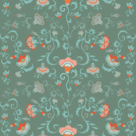 hues: Oriental flowers pattern, floral ornament in green hues. Intricate, complex seamless tribal vector wallpaper with pastel color