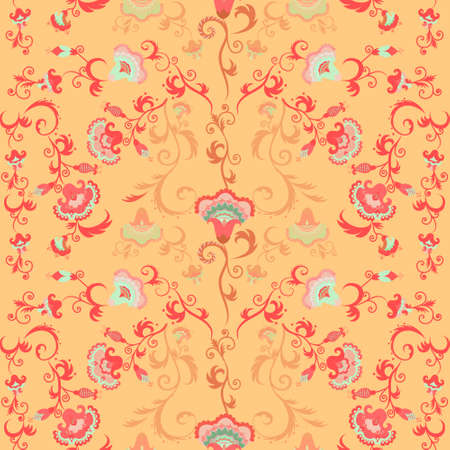 intricate: Seamless intricate vector floral pattern with stylized Asian or Indian flowers Illustration