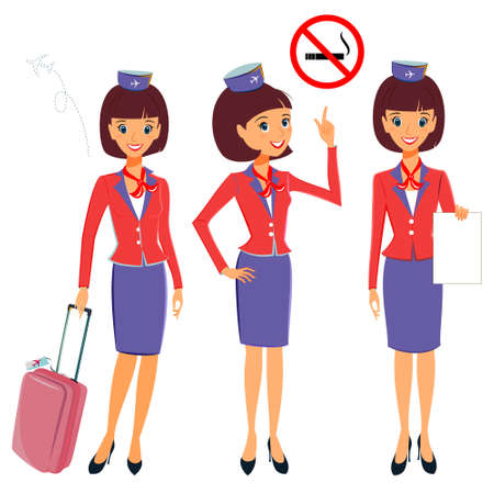 Flight attendant in different working situations set. Vector illustration professional occupation character. Cabin crew showing No smoking on board, travel luggage, migration card. Isolated on white