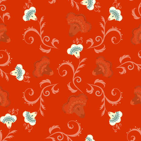 intricate: Seamless indian style vector pattern with intricate flowers in red color