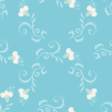 elaborate: Seamless floral vector pattern with intricate flowers in blue color