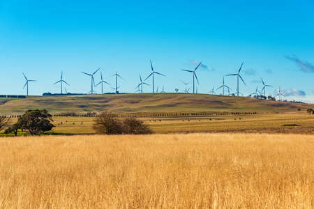 onshore: Windmill electricity turbine with countryside background. Farmland and wind turbines. Myrtleville, NSW, Australia