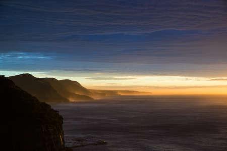 extreme terrain: Australian rugged coastline, shore on sunrise. Extreme terrain seashore landscape Stock Photo