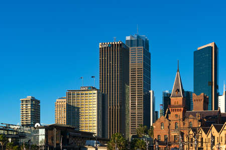 australasian: Sydney, Australia - Jul 23, 2016: Sydney Central Business District skyline with AMP building and Australasian Steam Navigation Co. building facade
