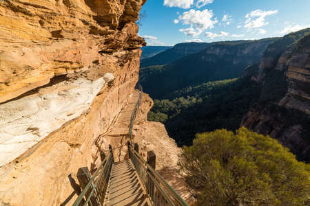 new south wales: Mountain track staircase over steep cliff edge. Wentworth Falls, National Pass Track, Blue Mountains National Park, New South Wales, Australia