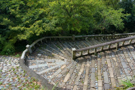 Aerial view, view from above on stone staircase bend. Kunozan Tosho-gu shrine staicase, Shizuoka, Japan
