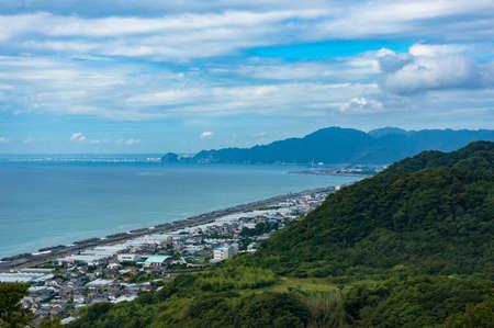 Aerial view of Shizuoka strawberry farms along Pacific coast. Japan