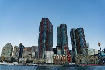 Sydney, Australia - November 13, 2016: Barangaroo architecture complex against Sydney Central Business District on the background