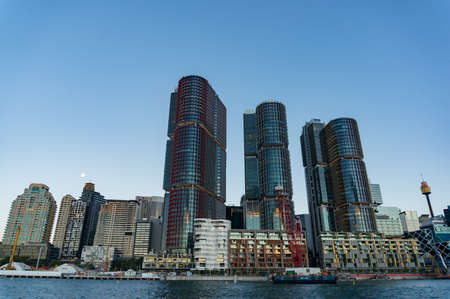 Sydney, Australia - November 13, 2016: Barangaroo architecture complex against Sydney Central Business District on the background