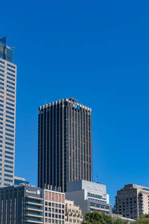 amp tower: Sydney, Australia - November 24, 2016: Demolition of famous AMP Tower on Bridge street at Circular Quay, Sydney as part of redevelopment of Circular Quay Project