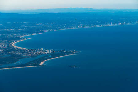 Aerial view of border between Australian states New South Wales and Queensland with view of Coolangatta and Gold Coast, Australia