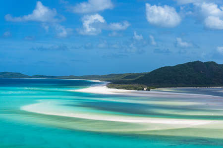 Aerial view of Hill inlet at low tide and Whitehaven beach on Whitsunday island Stock Photo