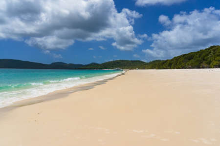 whitehaven beach: Tropical island beach landscape on sunny day. Summer vacation background. Tropical paradise getaway scene