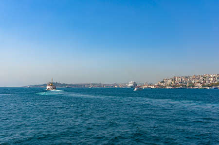 famous industries: Passenger ferry travelling over Golden Horn bay. Istanbul, Turkey