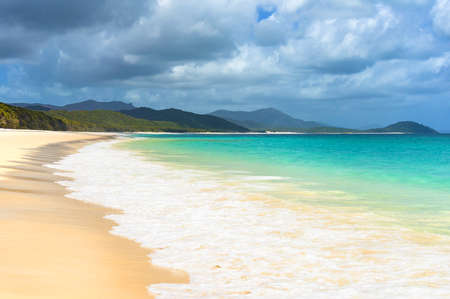 whitehaven beach: Beautiful tropical beach with white foam sea wave. Turqouise waters and silica white sand of Whitehaven beach. Queensland, Australia