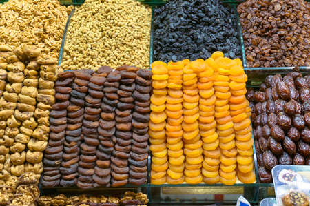 Dryed fruits and sweets stall, shop display. Traditional middle eastern treats Stock Photo
