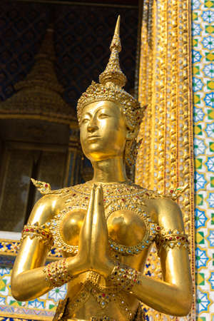 Apsarasi or apsara, a female spirit of the clouds and waters. Mythological creature statue in Grand Palace. Bangkok, Thailand Stock Photo
