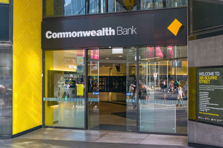 Melbourne, Australia - April 4, 2017: Commonwealth bank branch entrance on Bourke street in Melbourne Central Business District, CBD Editorial