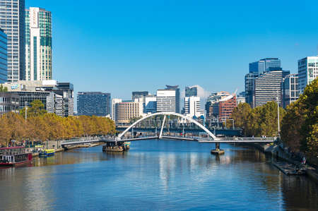 southbank: Melbourne, Australia - April 18, 2017: Melbourne cityscape view with Yarra river, Docklands and Southbank neighbourhoods