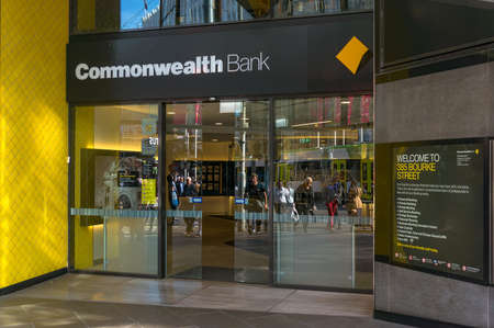Melbourne, Australia - April 4, 2017: Commonwealth bank branch front door entrance on Bourke street in Melbourne Central Business District, CBD Redakční