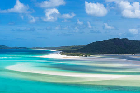 whitehaven beach: Aerial view of Hill Inlet lagoon and Whitehaven beach on sunny day. Tropical paradise background