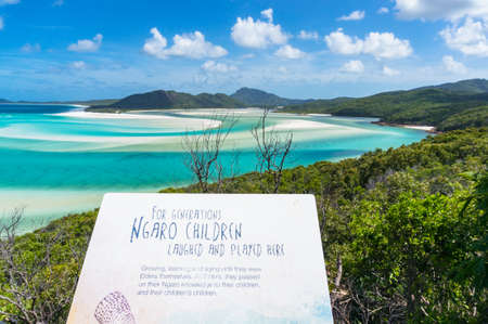 whitehaven beach: Queensland, Australia - February 5, 2017: Information sign of Aboriginal history of Whitehaven island area. Ngaro tribe past Editorial