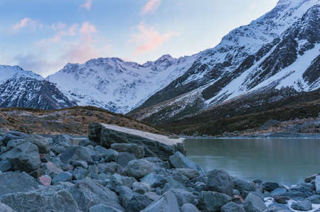 Mountain landscape with lake. Hooker valley. New Zealand
