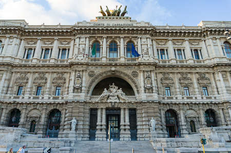 Rome, Italy - October 1, 2013: Supreme Court of Cassation building in Rome. Exterior of Palace of Justice, Rome. Renaissance, Baroque architecture style
