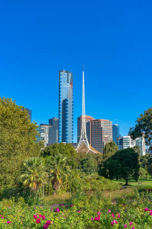 Melbourne Southbank cityscape with beautiful green garden, park on foreground