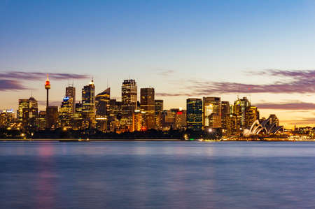 famous industries: Sydney Central Business District, CBD cityscape at sunset