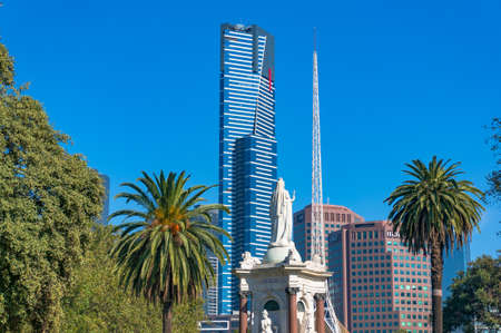 southbank: Melbourne, Australia - April 4, 2017: Eureka tower, National Gallery of Victoria and Melbourne Southbank cityscape on sunny day