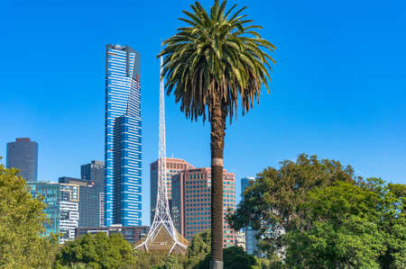 southbank: Melbourne, Australia - April 4, 2017: Eureka tower and National Gallery of Victoria against Melbourne Southbank cityscape on the background