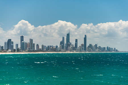 surfers paradise: Gold Coast iconic skyline with Surfers Paradise beach on sunny day. Ocean view