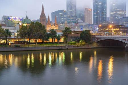 Melbourne, Australia - April 19, 2017: Melbourne cityscape at dusk