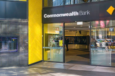 Melbourne, Australia - April 4, 2017: Commonwealth bank branch entrance
