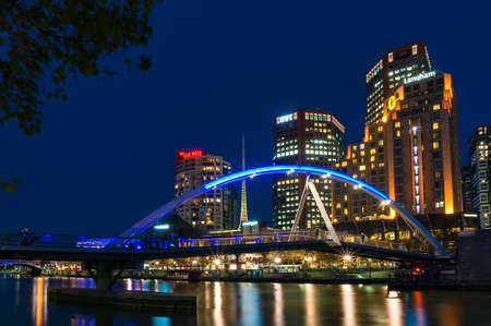 Melbourne, Australia - April 20, 2017: Southbank cityscape at night Editöryel