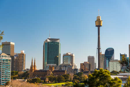 nsw: Panoramic view on Sydney CBD, Central Business District skyline with Sydney tower and St Mary Cathedral. Sydney, Australia Editorial