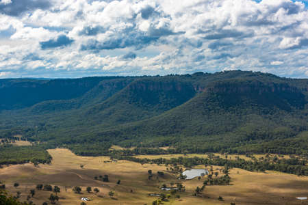 Aerial view Australian countryside landscape of beautiful valley among mountains
