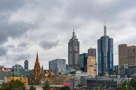 st kilda: Melbourne, Australia - April 21, 2017: Melbourne centre cityscape on rainy day
