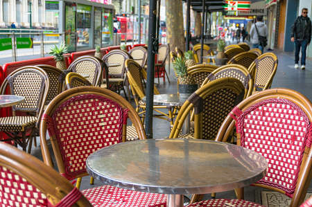 Melbourne Australia - April 17 2017 Outdoor cafe setting with bright chairs and & Melbourne Australia - April 17 2017: Outdoor Cafe Setting With ...