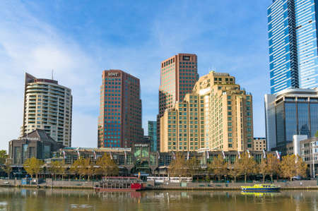 southgate: Melbourne, Australia - April 17, 2017: Southbank cityscape with Langham hotel, Eureka tower and other landmarks Editorial