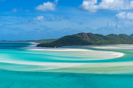 Spectacular view of picturesque Whitsunday island beach and lagoon from Hill Inlet. Tropical beach paradise. Queensland, Australia