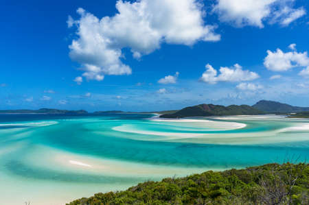 whitehaven beach: Aerial view of Hill inlet with tropical lagoon and Whitehaven beach in the distance. Whitsunday Island, Queensland, Australia Stock Photo