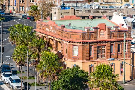 Sydney, Australia - July 3, 2016: The Bells Hotel historic building in Woolloomooloo district in Sydney Editorial