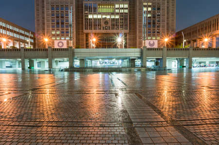 Tokyo, Japan - August 29, 2016: Tokyo Metropolitan Government Building front entrance at night